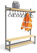 Single Sided Cloakroom Units with Black Plastic Hangers